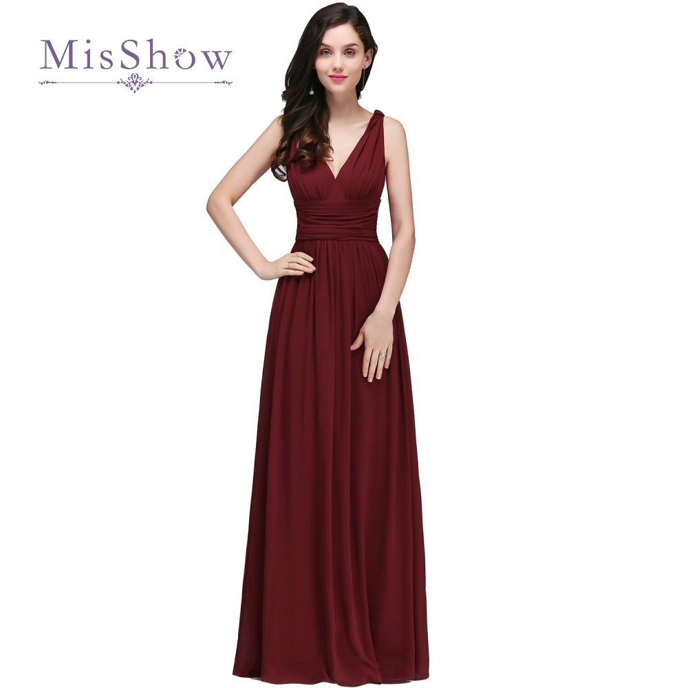 2018 Robe De Soiree V Neck Sleeveless Burgundy Long