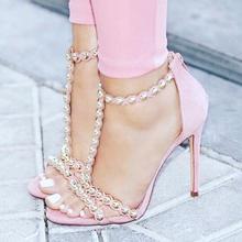 Sexy Pink Heels Sandals Rivets Studded Decor Open Toe Single Sole High T-bar Women Wedding Shoes Bride Plus Size