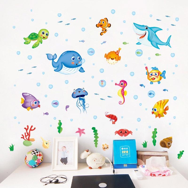 background decor underwater sea animals removable wall sticker happy