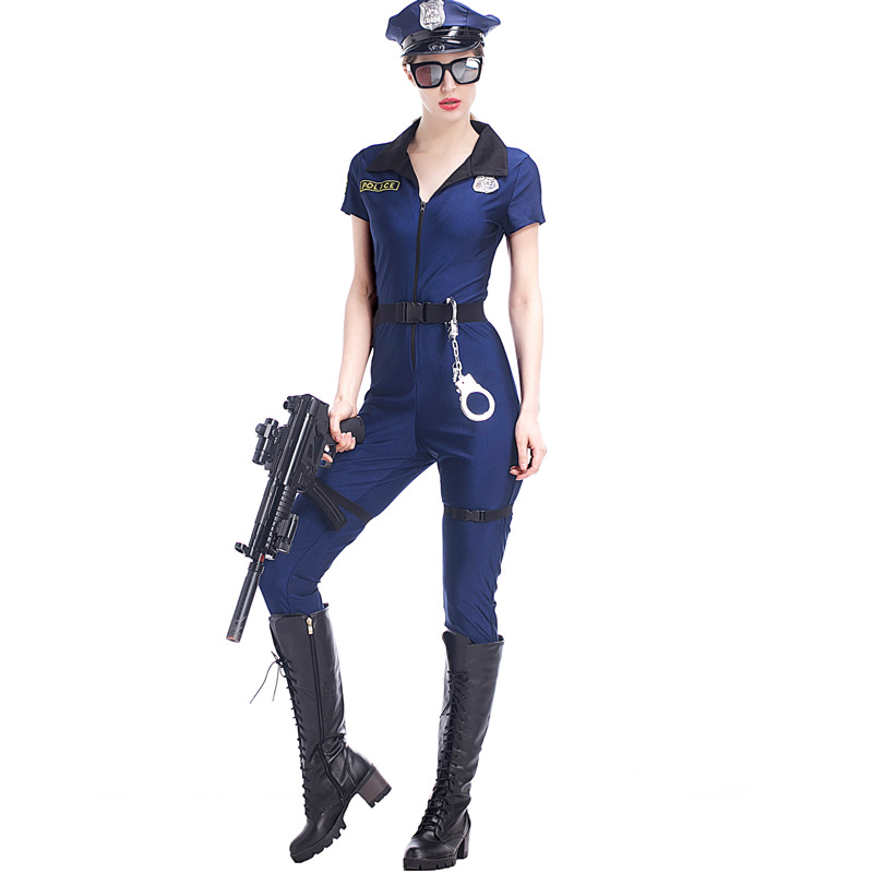 2017 M-XL Hot handsome Sexy Blue Police Costumes Adult Women Halloween Carnival Cosplay Zipper Cop Police Jumpsuits Uniform
