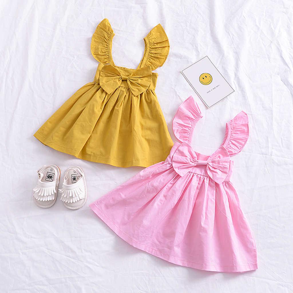 فستان بناتي للشاطئ لون خالص جديد 2018 ، ربطة عنق ، فستان الأميرات ، أصفر ووردي ، ملابس صيفية لطيفة للأطفال ، فستان بأكمام طويلة