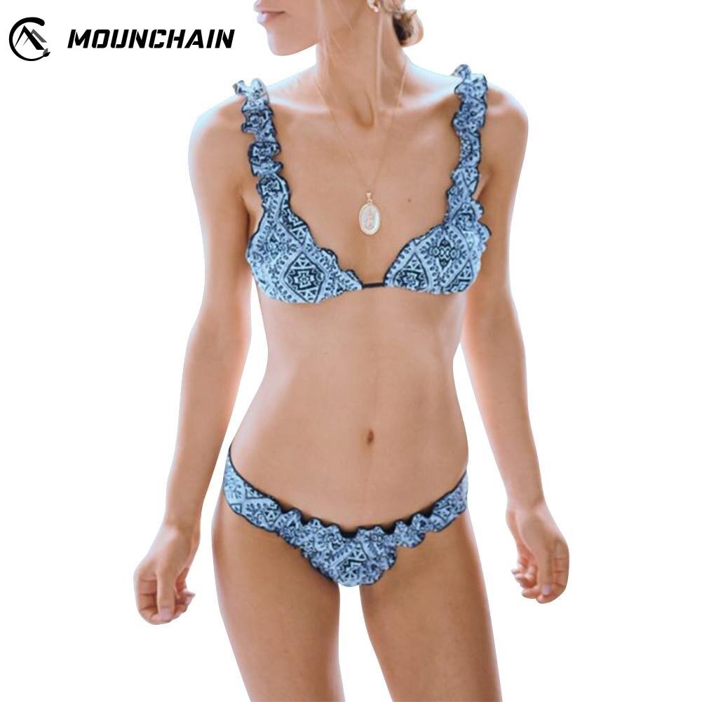 Sexy Brazilian Beachwear Geometric Pattern Printing Bikini Bra Briefs Slim Swimsuit in Bikinis Set from Sports Entertainment