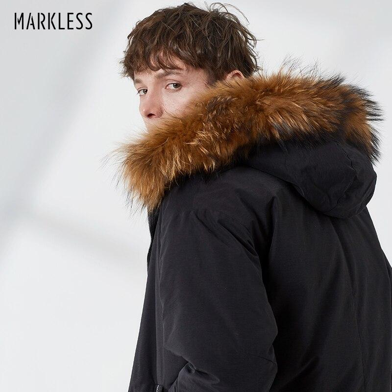 Markless Long Thick 80% White Duck   Down   Jacket Men 2018 Winter Warm Hooded Parkas Detachable Raccoon Fur   Down     Coats   YRA8316M