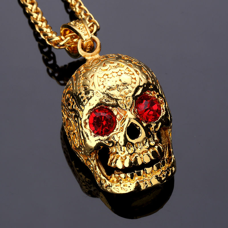 Nyuk Fashion Jewelry Skeleton Punk Rock Mexican Tattookull Pendant Necklace With Red Eyes Crystal Charm Men Gold Hip Hop Chain In Necklaces From