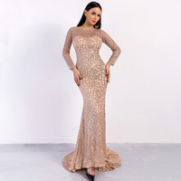 Autumn Elegant Long Dress Fashion Celebrity Evening Party Long Sleeve Sequined Bodycon Maxi Dresses