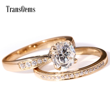 TransGems Solid 14K 585 Yellow Gold 1ct 6.5mm F Color Moissanite Engagement Ring Set for Women Wedding 2 Pieces Birdal