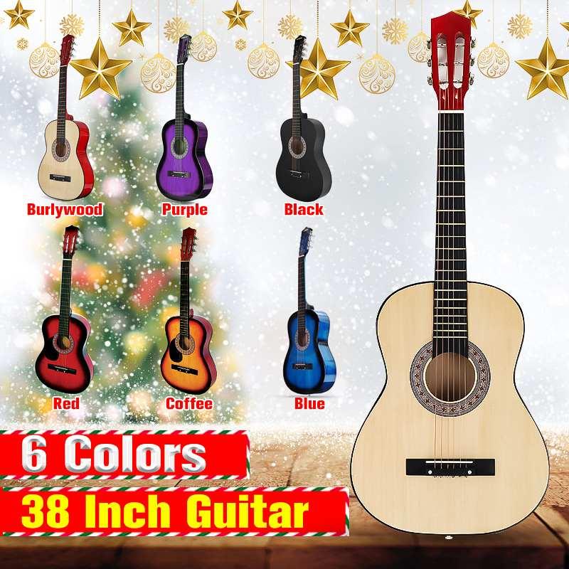 38 pouces moderne en bois Folk acoustique Guitarra guitare basse ukulélé avec étui sac pour amoureux des Instruments de musique 6 couleurs