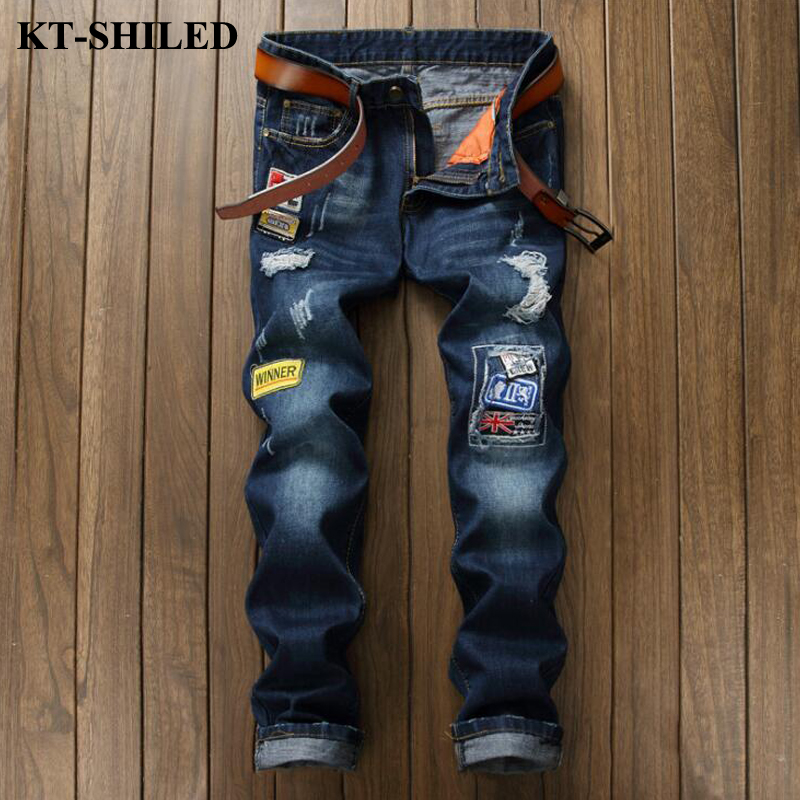 High Quality Men Jeans Brand Fashion Patchwork Patches Mens Denim Pants Ripped Trousers Men Vaqueros Hombre Cotton Jean Pans