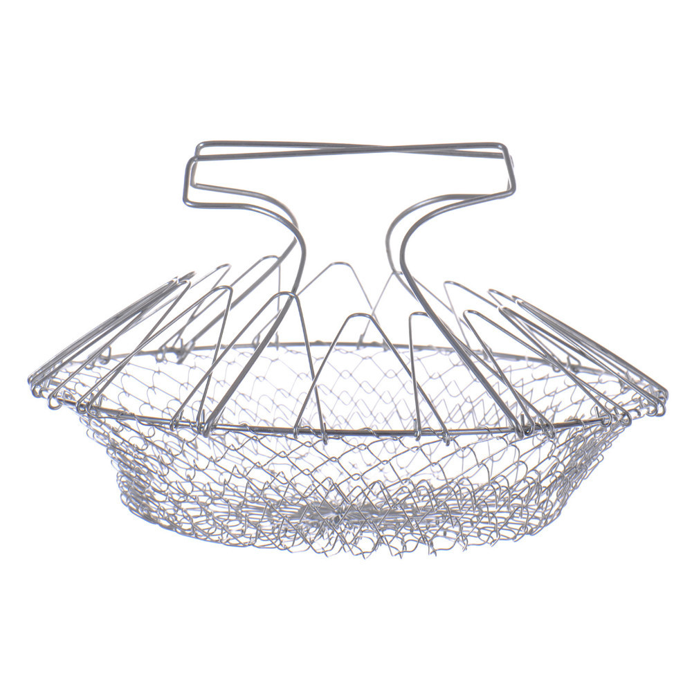 Høy kvalitet Billige Foldable Steam Skyll Strain Fry Chef Basket Magic Basket Mesh Basket Strainer Colander Kjøkken Cooking Tools