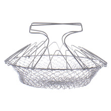 High quality Cheap Foldable Steam Rinse Strain Fry Chef Basket Magic Basket Mesh Basket Strainer Colander Kitchen Cooking Tools