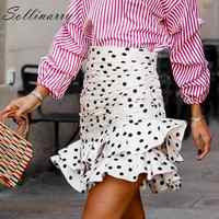 Sollinarry Polka Dot Elegante Kurze Röcke Frauen Hohe Taille Mode Herbst Rüschen Röcke Damen Winter Bodycon Schlank Rock Retro