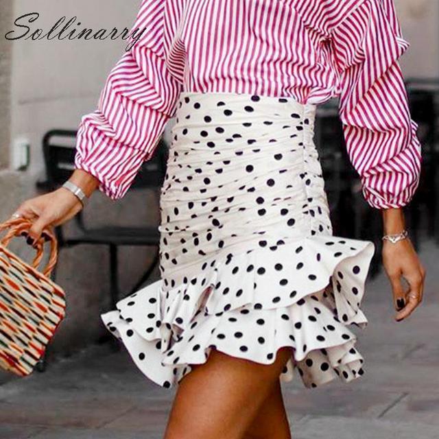 Sollinarry polka dot elegante saias curtas mulheres de cintura alta moda outono babados saias senhoras inverno bodycon saia fina retro