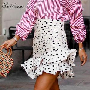 Image 1 - Sollinarry, узор в горошек, Элегантные короткие женские юбки, высокая талия, Модные осенние юбки с оборками, Дамская зимняя облегающая юбка в стиле ретро