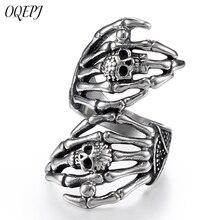 OQEPJ Vintage Skull Full Finger Rings 316L Stainless Steel Silver Color Jewelry For Women Prevent allergy High Quality Gift