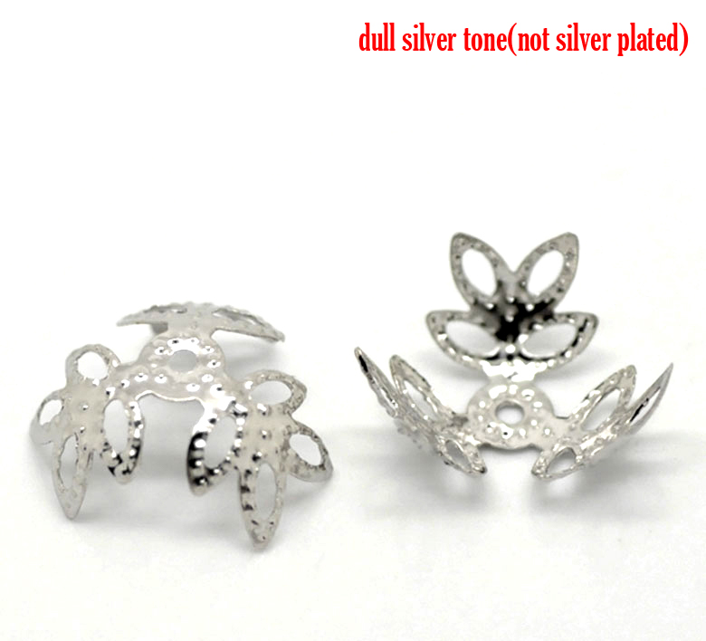 Alloy Beads Caps Four Leaf Clover Silver Tone(Fits 12mm-14mm Beads)Flower Hollow Pattern 14mm X 14mm ,50 PCs New