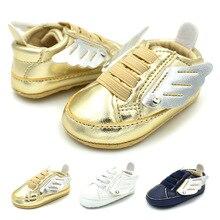 Nova Moda Couro PU Bebê Meninos Prewalker Calçados Infantil Criança Asas de Anjo Bebe Berço Botas Primeiros Caminhantes Prewalkers Calçados