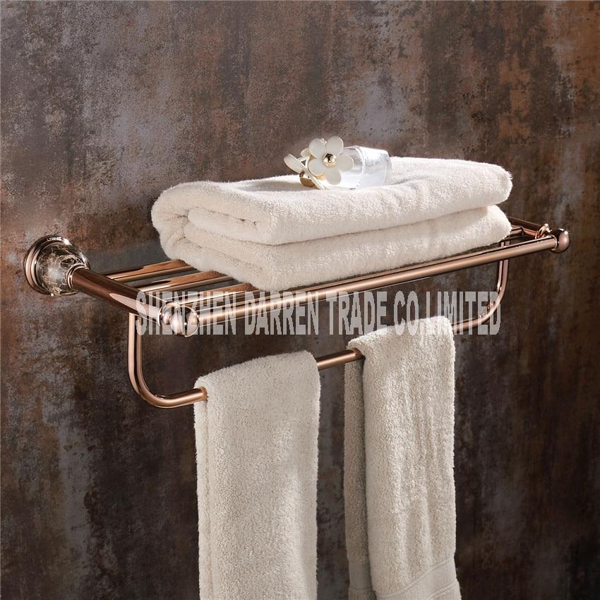 New Arrival Marble base towel rack rose gold full copper towel rack bathroom hardware pendant European towel rack Hot selling a1 european copper black gold bathroom hardware pendant towel hanging single pole towel bar brass frame wx6211448