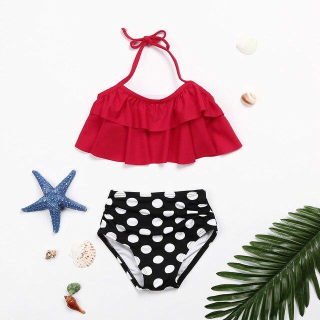 Two Piece Toddler Baby Girls Ruffles Dot Bikini Set High Waist Bikini 2018 Swimwear Bathing Suit Outfits Swimsuit MA31