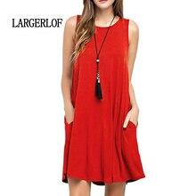 LARGERLOF Summer Dress Loose Leisure Jumper Round Neck Simple Wild Cotton DS57130
