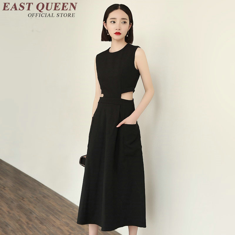 2018 new arrivals casual sundress women black bodycon long sundresses sleeveless sundresses for women KK456