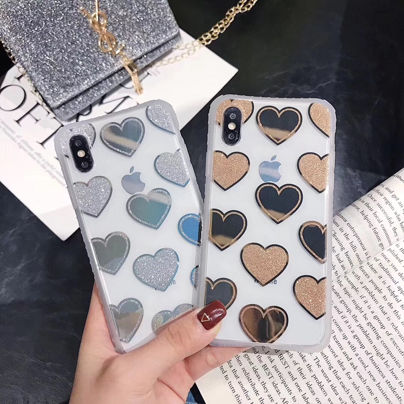 Tfshining Glitter Phone Case For iphone X XR XS Max Cute Love Heart Bling Shockproof Cover 7 8 6 6s Plus Coque