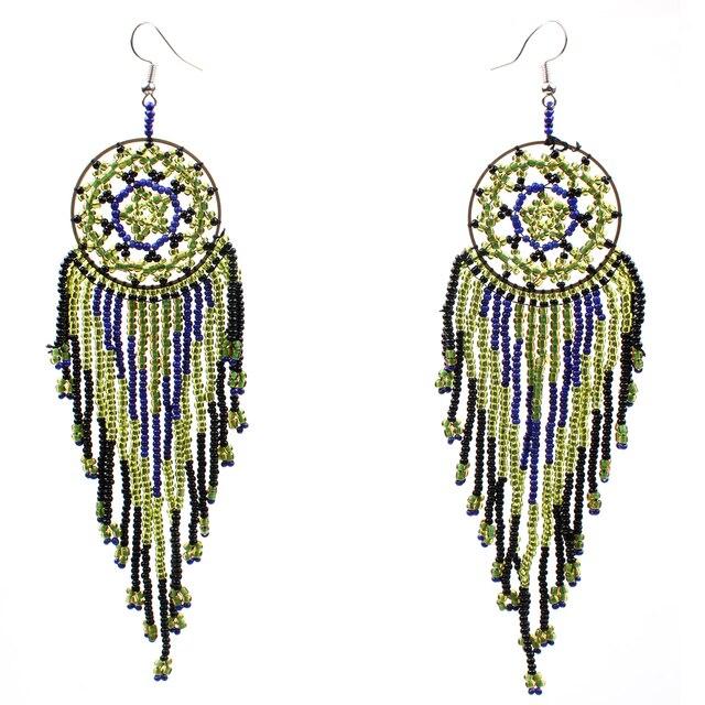 Claire Jin Small Beads Handmade Long Tassel Fringe Drop Earrings for Women Ethnic Jewelry Vintage Bohemian Earring