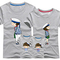 1 Piece Dad Mom Short Sleeves T-Shirts 2017 Family Matching Clothes Blue Stripe Couple T Shirt Cartoon Female Male 4xl Summer