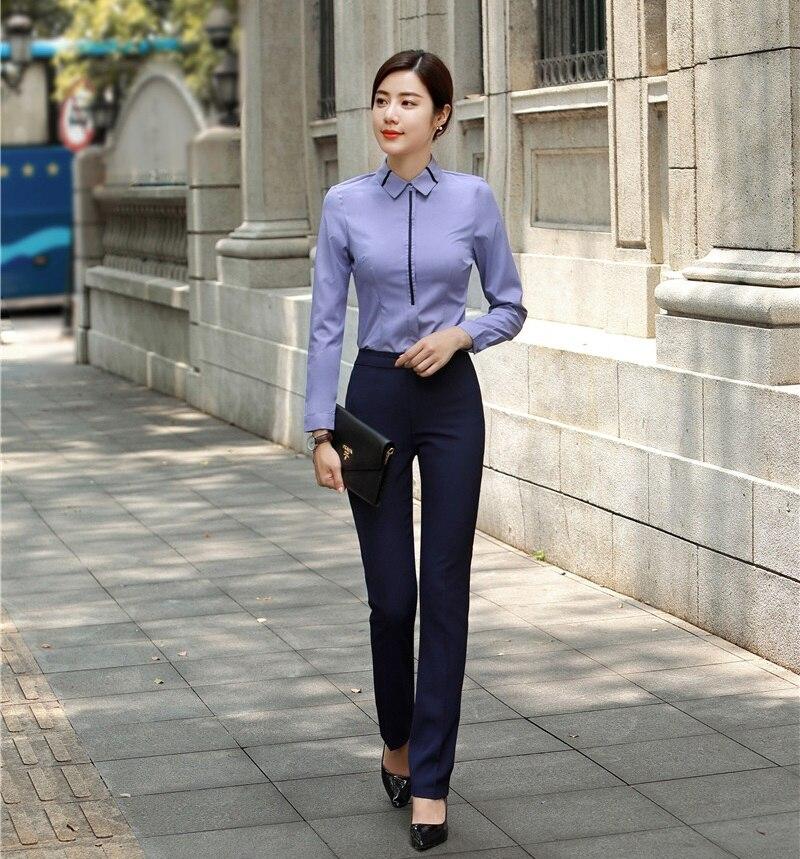 Formal Pantsuits Women Business Suits Two Piece Pant And Top Sets Ladies Blue Blouses & Shirts Office Uniform Styles