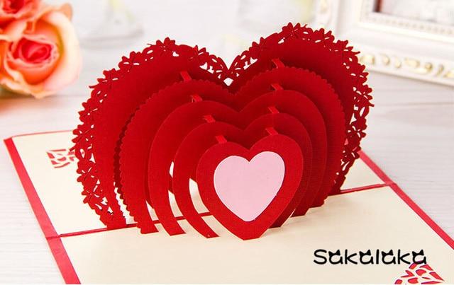 Kreative 3D Handmade Valentinstag Karten Geschenk Phantasie Papier Schnitt  Geschnitzt Herzen Karten Für Liebe