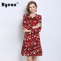 Ryeon Plus Size 4xl 5xl Women Dress Red Floral Chiffon Spring Autumn Retro Long Sleeve Bow