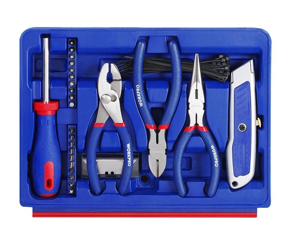 Купить с кэшбэком WORKPRO 125PC Hand Tools Set Box Home Tools Household Tool Case General Tool Kits