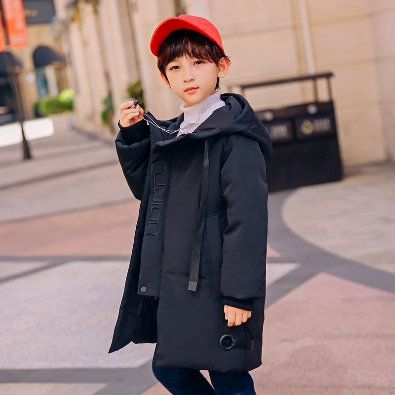 XYF8805 Winter 100 White Duck Down Coat Child Solid color Keep Warm Jacket Thick Hooded Girls Long Outerwear Boys Windbreaker