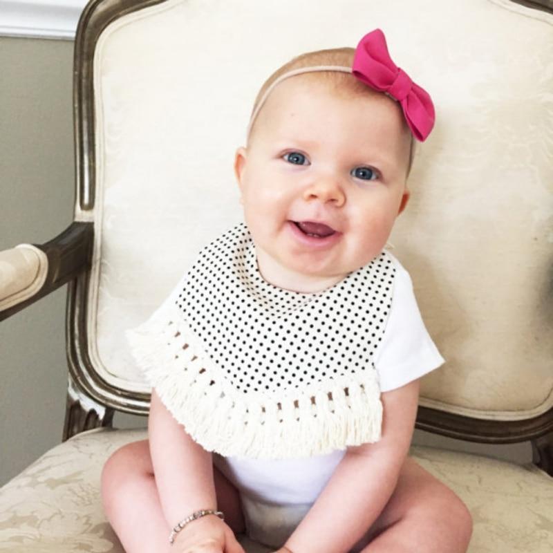 Sweet Lovely Bibs Burp Unisex Baby Soft Bibs Burp Cloths Lovely Striped Tassels Newborn Baby Feeding Baby Bibs