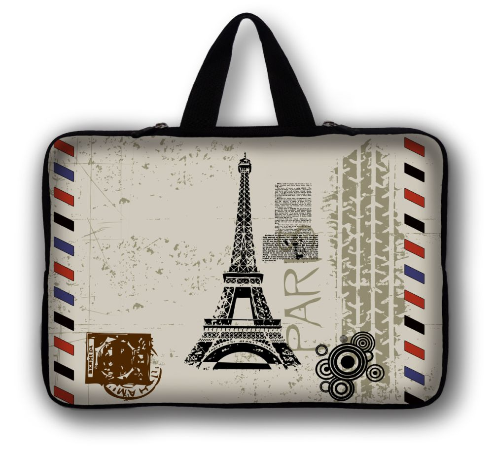 17 17.3 17.4 inch Eiffel Tower Laptop Bag For Macbook Pro 17 Neoprene Computer Zipper Pouch Cover Laptop Sleeve 17.3 17.4