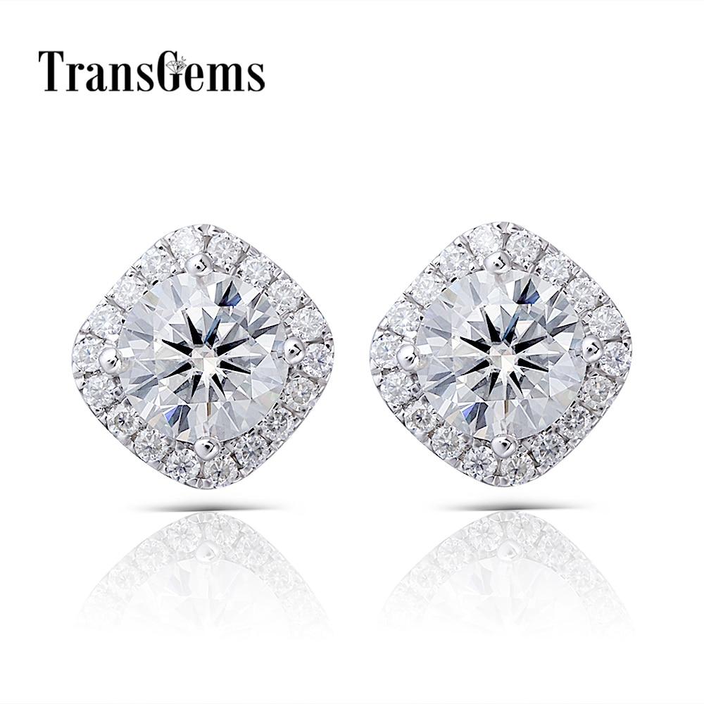 Transgems White Gold Halo Moissanite Stud Earrings Center 6MM F Color Moissanite 14K 585 White Gold Push Back for Women Gift