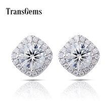 Transgems White Gold Halo Moissanite Stud Earrings Center 6MM F Color Moissanite 14K White Gold Push Back for Women
