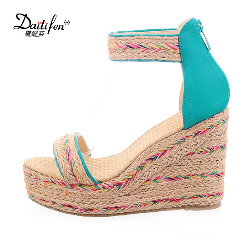 Daitifen Italian ladies Ankle-Wrap sandals Summer ethnic Mixed color high heel Platform shoes zipper women Party Wedge sandals