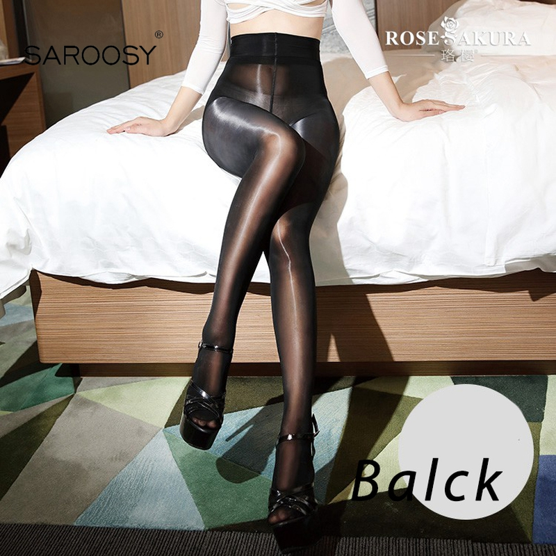 SAROOSY 2018 New Sexy Oil Shiny One Line Crotch Stockings For Women Smooth High Waist See Through High Elastic Pantyhose