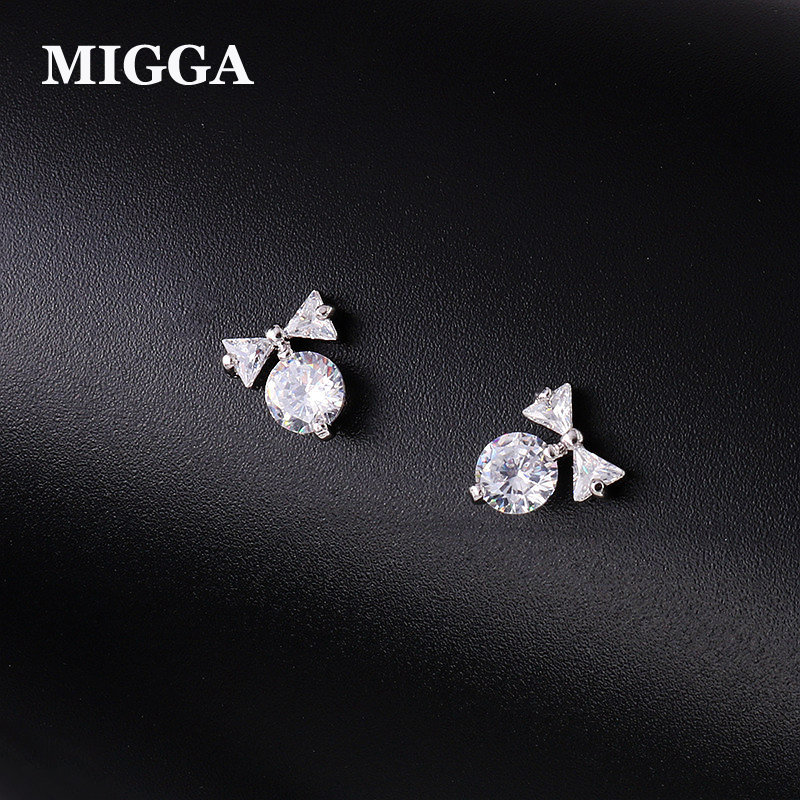 MIGGA Delicate AAA Cubic Zirconia Crystal Small Bowknot Stud Earrings Fashion Women Girls Gift Jewelry