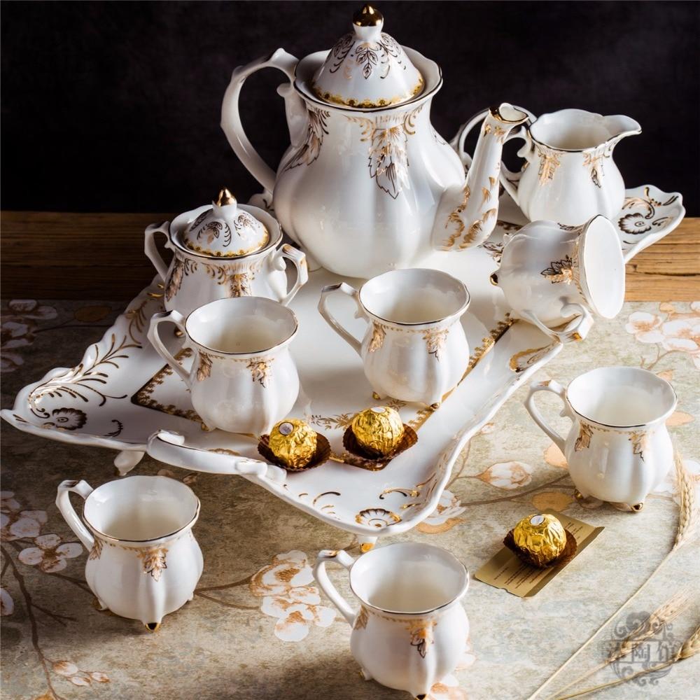 Ceramic coffee set European style tea set with tray
