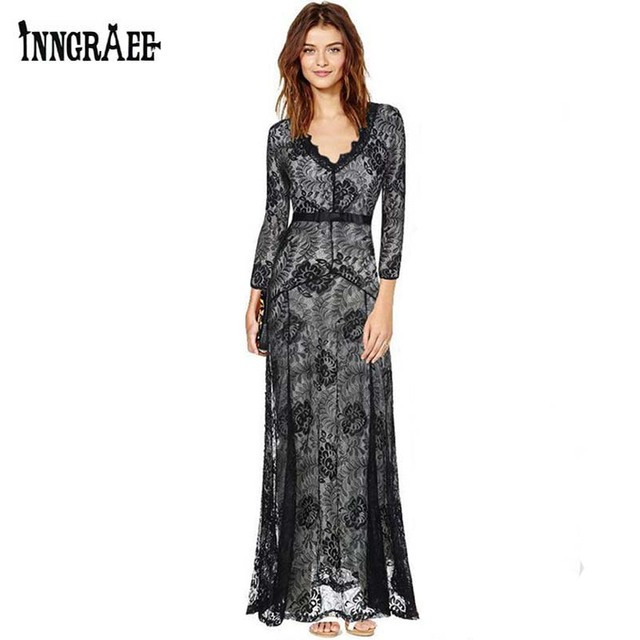 0b0fc1f598 US $18.74 |Inngraee 2017 Summer European Style Womens Sexy Lace Maxi Dress  Long Sleeve Deep V Neck Plus Size S 2XL NS1807-in Dresses from Women's ...