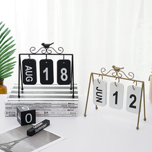 New Nordic style simple wrought iron calendar small ornaments home living room desktop decoration