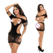 Mulheres Erotic Porn Sexy Lingerie Produtos Do Sexo feminino Seamless Virilha Mini Vestido Corpo Stocking Roupa Trajes Nightdress