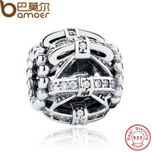 BAMOER Original 925 Sterling Silver Bow-knot Crystals Charm Fit BME Bracelet Women DIY Jewelry Wedding Gift PAS250