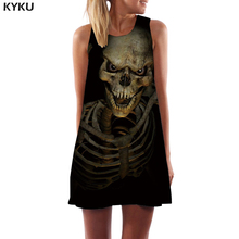KYKU Brand Skull Dress Women Skeleton Office Black Ladies Dresses Gothic Sexy Punk Korean Style Womens Clothing Vintage