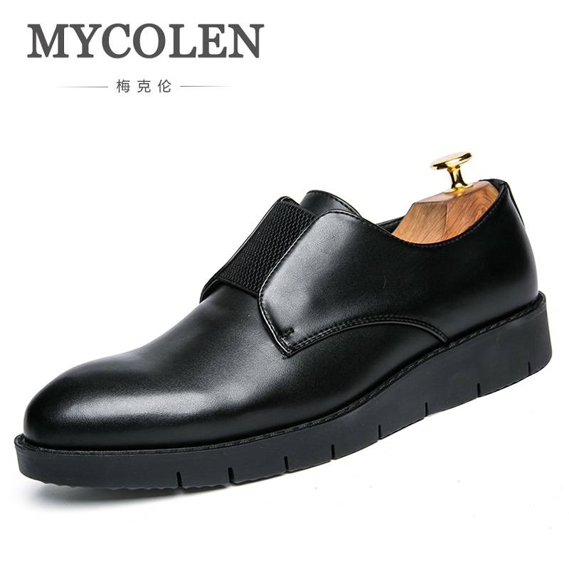 MYCOLEN New Leather Men Shoes Brand Fashion Style Black Soft Men Loafers Comfort Slip On Flats Shoes Men Footwear Chaussures mycolen casual shoes men genuine leather shoes soft comfortable male footwear men s shoes brand black loafers mocassin homme