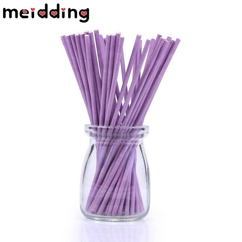 MEIDDING 100pcs/Set 5colors Optional Food Grade Paper Lollipop/Cake/Dessert Pop Sticks DIY Baby Shower Wedding Gifts Supplies