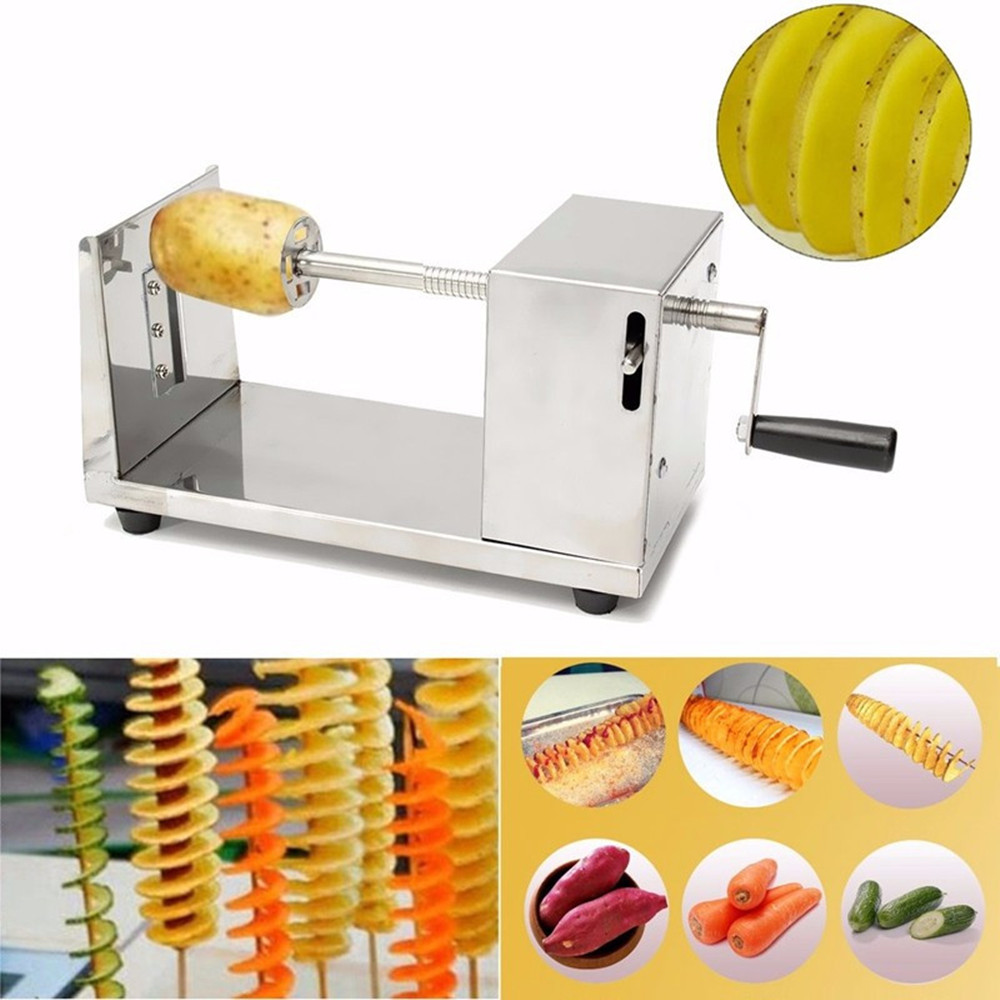 Free shipping manual stainless steel twisted potato slicer french fry potato vegetable spiral shaped cutter for home restaurant руководство twisted картофеля фри из нержавеющей стали slicer овощей