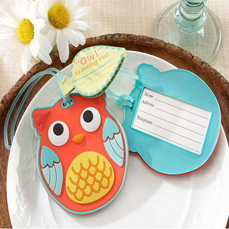 (DHL,UPS,Fedex)FREE SHIPPING+50pcs/Lot+Unique Party SuppliesOwl Be Seeing You Owl Rubber Luggage Tag Wedding Favors