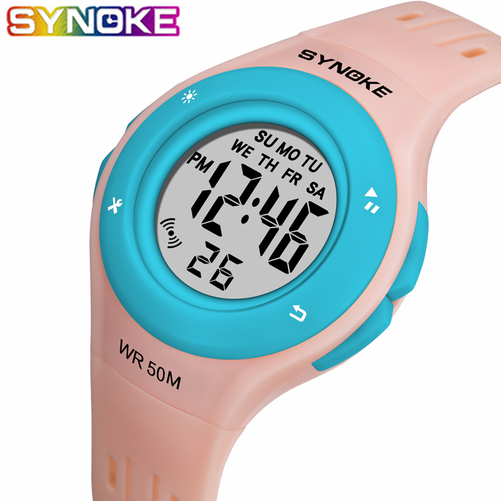 SYNOKE 2019 Colorful LED Children Watches WR50M Waterproof Kids Wristwatch Alarm Clock Multi-function Watches For Girls Boys